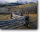 Stock photo. Caption: Aspen rail fence and the Sneffels Range   from Dallas Divide San Juan Mountains Rocky Mountains,  Colorado -- united states america pole fences fence aspens trees forest rural fall autumn snow capped peaks cold countryside country rocky mountain cattle ranch ranches rural rustic ranching fenceline fencelines winding grazing land pasureland fenced western west