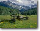 Stock photo. Caption: Aspen pole fence and Mt. Sneffels   from east Dallas Creek Valley Sneffels Range San Juan Mountains, Colorado -- united states america pole fences fence aspens trees forest rural summer peaks countryside country rocky mountain cattle ranch ranches rural rustic ranching fenceline fencelines winding grazing land pastureland fenced western west classic views view