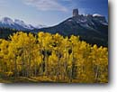 Stock photo. Caption: Aspens, Chimney Rock, Dunsinane and Precipice Peak, Owl Creek Pass Uncompahgre National Forest San Juan Mountains, Colorado -- Rocky Rockies aspen fall peaks sunny clear landscape landscapes dramatic majestic mountain forests tree trees spruce spruces arete spire spires tower towering eroded erosion colours colour snow snowfall color fresh snowfall scenics scenic blue skies scene