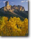 Stock photo. Caption: Aspens and Chimney Rock Uncompahgre National Forest San Juan Mountains Rocky Mountains, Colorado -- Owl Creek Pass fall peak peaks autumn rockies united states landscape landscapes dramatic majestic mountain color colors forests tree trees deciduous spruce spruces arete sweeping view views vista scenic colour colours sunny clear blue skies scenics
