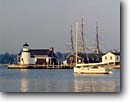 Stock photo. Caption: Sunset and Mystic Seaport