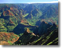 Stock photo. Caption: Waimea Canyon Waimea Canyon State Park Island of Kauai Hawaii -- hawaiian islands canyons spring winter eroded erosion scenic overlook overlooks vista vistas united states america destination destinations vacations vacation travel tourist attraction attractions scenic scenics landscapes landscape blue skies sunny clear
