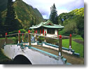 Stock photo. Caption: Japanese tea garden Kepaniwai Heritage Gardens   County Park, Iao Valley Island of Maui, Hawaii -- pagota pagotas footbridge footbridges tropical hawaiian islands parks oriental building buildings attraction attractions scenic scenics garden tourist destination destinations bridges exhibit exhibits landscapes landscape formal family