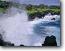 Stock photo. Caption: Winter surf Pailoa Bay Waianapanapa State Park Island of Maui, Hawaii -- united states america tropical  hawaiian parks waves wave ocean oceans crashing black sand beaches beach shore shoreline shorelines tropics blue water waters scenic scenics landscape landscapes view
