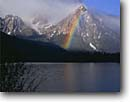 Stock photo. Caption: Rainbow and McGown Peak from Stanley Lake Sawtooth National Recreation Area Sawtooth Mountains, Idaho -- landscape landscapes scenic scenics scene attraction attractions destination destinations rockies peaks summer travel tourist family vacation wild nature areas lakes forests land ranges mountain rainbows
