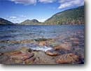 Stock photo. Caption: Jordon Pond and The Bubbles Acadia National Park Mount Desert Island Maine, New England -- Keywords: tranquil calm landscape landscapes summer scenic scenics parks islands boulder eastern east northeastern northeast ponds lake lakes pastels clear fall autumn shore shoreline landmarks named landmark formations