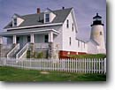 Stock photo. Caption: Pemaquid Point Lighthouse Pemaquid Neck Maine New England -- united states light dusk morning station lighthouses atlantic coast england northeast northeastern protection beacon beacons direction guidance pharos navigation america navigational aids historic fence fences historical building buildings picket scenics