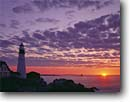 Stock photo. Caption: Portland Head Light Fort Williams Casco Bay Maine, New England --   lights station stations lighthouse lighthouses sunrise sunrises new england northeastern northeast united states america protection security beacon beacons direction guidance pharos navigation america navigational aid aids