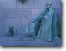 Stock photo. Caption: Statues, Franklin D. Roosevelt   and his dog Fala Franklin Delano Roosevelt Memorial The Mall Washington D.C -- Keywords:   americana nostalgic nostalgia united states america historic historical building buildings statues capitols cityscape cityscapes government power politics  memorial memorials district columbia
