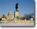 Stock photo. Caption: United States Capitol Washington D.C. United States of America -- americana nostalgic nostalgia historic historical building buildings capital capitols cityscape cityscapes government power politics memorial memorials monuments district columbia winter scenic scenics snow snowfall sunny clear statues horseback rider