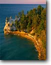 Stock photo. Caption: Miners Castle and Lake Superior Pictured Rocks Pictured Rocks National Lakeshore Michigan --   united states america parks lakeshores headland headlands fall autumn great lakes rocky shore shores shoreline