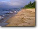 Stock photo. Caption: Pendil Bay Lake Superior Hiawatha National Forest Upper Peninsula,  Michigan -- united states america lakeshores waves rocky headlands summer  midwest blue water wave great lakes beach beaches sandy secluded midwestern shore shores landscape landscapes isolated