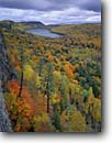 Stock photo. Caption: Lake of the Clouds Porcupine Mountains Wilderness State Park Upper Peninsula, Michigan -- Escarpment mountain parks great lakes midwestern midwest landscape landscapes northern hardwood forest forests fall autumn color colors united states america precipice face wall valley distance wild wildernesses area areas steep quiet isolation secluded
