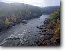 Stock photo. Caption: St. Croix River at Taylors Falls   from Interstate Bridge Interstate State Park Minnesota and Wisconsin -- united states america midwest midwestern upper north woods parks autumn fall color colour colours colors creeks rivers foliage waterfall waterfalls rapid rapids large saint foggy