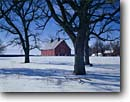 Stock photo. Caption: Barn and oaks   near Harris Chisago County Minnesota -- barns rural snow winter blue skies tree trees midwest midwestern shadow silhouette  structure farm farming farms ranches united states america  red