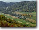 Stock photo. Caption: Farm from O. L. Kipp State Park Winona County Minnesota -- rural midwest farm farming united states america rural pastoral valley farms autumn fall agriculture ranching sunny clear hay fields ranches midwestern  region building buildings