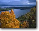 Stock photo. Caption: Mississippi River   from O. L. Kipp State Park Winona County Minnesota -- united states america midwest midwestern upper north woods parks autumn fall color colour colours colors creeks parks foliage cloudy clouds view vista landscape landscapes views rivers famous long distance vistas overlook overlooks landmark landmarks