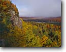 Stock photo. Caption: Mixed hardwood forest   from Oberg Mountain Superior National Forest Minnesota -- forests northern tree trees upper midwest united states america forests forest forests aspens maples  mixed hardwood foliage autumn fall color colors colour colours landscape landscapes lakes stormy region great