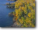 Stock photo. Caption: Lake Superior   from Shovel Point Tettegouche State Park Lake County,  Minnesota -- united states america midwest midwestern upper north woods parks cliffs headlands great lakes shoreline rocky autumn fall foliage landscape landscapes shorelines lakeshore lakeshores blue water sunny clear sky skies rugged