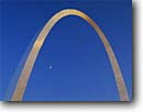 Stock photo. Caption: Gateway Arch at sunset Jefferson National  Expansion Memorial Saint Louis, Missouri --   united states america cityscape cityscapes tourist attraction attractions destination destinations historic historical moon moons arches memorials monument monuments midwest midwestern