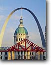 Stock photo. Caption: Old Courthouse & Gateway Arch Jefferson National  Expansion Memorial Saint Louis, Missouri --   united states america cityscape cityscapes tourist attraction attractions destination destinations historic historical moon moons arches memorials monument monuments midwest midwestern courthouses dome domes