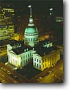 Stock photo. Caption: Historic Old Courthouse Jefferson National  Expansion Memorial Saint Louis, Missouri --   united states america cityscape cityscapes tourist attraction attractions destination destinations historic historical moon moons arches memorials monument monuments midwest midwestern courthouses dome domes night city lights