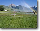 Stock photo. Caption: Bar-K Ranch Sphinx Peak, Madison Range Madison River Valley near Cameron Rocky Mountains,  Montana -- landscape landscapes barns building buildings summer pastoral rural agriculture barns ranches ranchland ranching family farm values value hard working isolated isolation split rail fence sprinklers rainbow rainbows irrigation irrigated fields field