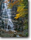 Stock photo. Caption: Arethusa Falls Crawford Notch State Park White Mountains Coos County, New Hampshire, New England -- waterfall waterfalls creek creeks stream streams water flowing parks fall autumn color colors cloudy  northeast northeastern parks cascade cascades lacy lacey east delicate emotion motion soft wild destination destinations attractions attraction scenic