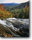 Stock photo. Caption: Blue Valley from lip of Glenn Falls Nantahala National Forest Blue Ridge Mountains Macon County,  North Carolina -- autumn waterfall waterfalls cascade cascades tree trees southern south southeast southeastern united states foliage tourist travel attraction attractions color colors landscape landscapes fall sunny clear blue distance landscape landscapes scenic scenics