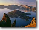 Stock photo. Caption: Wizard Island from Hillman Peak Crater Lake National Park Cascade Range, Oregon --   lakes parks mountains ranges united states america pacific landscape landscapes pristine tourist travel destination destinations calm placid summer islands volcano volcanoes volcanos lava craters volcanic majestic cascades dramatic