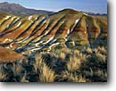 Stock photo. Caption: The Painted Hills in winter The Painted Hills Unit John Day Fossil Beds National Monument Wheeler County,  High Desert,  Oregon -- volcanic ash ashes clay hill badlands badland deserts monuments united states america erosion arid landscape landscapes eroded geology geologic formation formations snow cold pattern patterns sgebrush country winter
