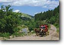 Stock photo. Caption: Stage coach Deadwood Black Hills South Dakota -- tourist attraction historic historical united states america horse drawn carriage stagecoach stagecoaches coaches road roads excursion excursions attractions horses animal animals blue sky clear sunny skies livestock draft summer