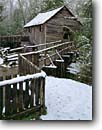 Stock photo. Caption: John P. Cable Grist Mill Cable Mill area, Cades Cove Great Smoky Mountains National Park Tennessee -- world heritage site sites parks appalachian fall autumn south green rural homestead homesteads historic historical americana mills grind waterwheel waterwheels power hydro water motion flow miller energy building buildings alternative grinding snow