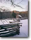 Stock photo. Caption: John Oliver Place Cades Cove Great Smoky Mountains National Park Tennessee -- america tourist travel destination destinations attraction attractions  landscape landscapes scenic scenics  winter snow snowfall building buildings historic historical parks fences fence house houses sunny clear cold home homes world heritage sites site