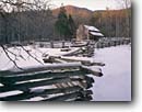 Stock photo. Caption: John Oliver Place Cades Cove Great Smoky Mountains National Park Tennessee -- america tourist travel destination destinations attraction attractions landscape landscapes scenic scenics winter snow snowfall building buildings historic historical parks fences fence house houses sunny clear cold home homes world heritage site sites