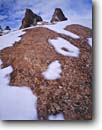 Stock photo. Caption: Snow and lichens on sandstone Devil