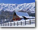Stock photo. Caption: Barn below Wellsville Mountains Mendon, Cache Valley Great Basin, Utah -- barns winter rural snow fence snowy roof white mountain ranch ranches ranching country countryside quaint fences cold blue skies clear americana united states state america american