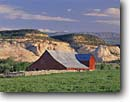 Stock photo. Caption: Ranch and Boulder Mountain Escalante River Basin Boulder  Colorado Plateau, Utah -- ranches ranching barn barns rural field fields canyon country united america pastoral agriculture sunny blue skies clear family farm farms classic building buildings isolated freedom independence landscapes landscape time trust scenics scenic spring with