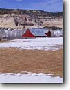 Stock photo. Caption: Ranch barn and Boulder Mountain Escalante River Basin Boulder Colorado Plateau,  Utah -- barns mountain wooden ranch ranches ranching country barnyard yard countryside rural americana united states america state rustic farms winter snow snowy building buildings landscape landscapes clear sunny blue skies agriculture