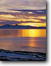 Stock photo. Caption: Great Salt Lake from the shore of Antelope Island with Stansbury Island Antelope Island State Park Great Basin,  Utah -- Farmington Bay united states america  clouds summer sagebrush country landscape landscapes sunset sunsets range brilliant parks salty lakes islands lakes landmark landmarks tourist destination destinations winter