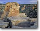 Stock photo. Caption: Ruin on Tower Point and Twin Towers  Little Ruin Canyon Hovenweep National Monument Colorado Plateau,  Utah -- indian canyons country deserts pueblos ruins native american historic parks desert anasazi southwest southwestern construction rock structure monuments dwellings remote ancient walls redrock stone buildings building history archeological archeology rocks