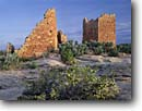 Stock photo. Caption: Stansbury cliffrose   and Hovenweep Castle Hovenweep National Monument Colorado Plateau,  Utah -- purshia mexicana stansburyana shrub shrubs sunny indian canyons country deserts pueblos ruin ruins native american historic parks desert anasazi southwest southwestern construction rock structure monuments dwellings  ancient walls redrock stone clear