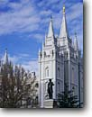 Stock photo. Caption: Statue of Brigham Young & Mormon Temple Salt Lake City Salt Lake County Wasatch Front,  Utah -- worship temples international travel travels trip holy building pray prayer meditation hope religious sacred religion places mormons statues leader inspiration inspirational imposing buildings  faith place churches church city cities center faith