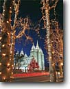 Stock photo. Caption: LDS (Mormon) Temple   and Temple Square Salt Lake City Wasatch Front, Utah -- county christmas lights churches worship temples international travel travels trip snow snowy winter holy dusk clouds building pray prayer meditation hope religious sacred cold religion places mormons faith landmark landmarks lighted night buildings