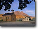 Stock photo. Caption: The West Temple   in Zion National Park Ghost Town of Grafton Colorado Plateau, Utah -- towns historic sundance parks nostalgia nostalgic school schools fall autumn room rural movie towns historic buildings building abandoned sunny clear  attraction attractions history historical springdale near lonely secluded weathered scene landscapes