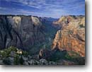 Stock photo. Caption: Angels Landing and Zion Canyon   from Observation Point Zion National Park Colorado Plateau,  Utah -- canyons parks vista vast spectacular dramatic landscape landscapes travel vacation tourist destination destinations vistas overlook overlooks deep views navajo sandstone grand wild sheer independence inspire inspirational spring sunny clear blue solitude