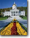 Stock photo. Caption: Vermont State House Montpelier Washington County New England, Vermont -- flower flowers capital capitals northeast northeastern landmark landmarks urban capitol capitols domes entrance inviting politics political pillars historic historical architecture columns lead leading balance legal chrysanthumum sunny clear blue gold
