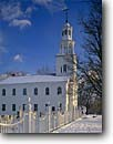 Stock photo. Caption: Old First Street Church Bennington Bennington County Vermont -- united states america east eastern building buildings village historic historical churches worship  holy  hope religious sacred religion places steeple crosses cross snow winter white sunny blue sky skies purity pure new england northeastern