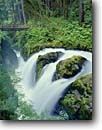Stock photo. Caption: Sol Duc Falls Sol Duc River Olympic National Park Olympic Peninsula, Washington -- landscape landscapes west parks scenic scenics scene cascades rivers western summer waterfalls waterfall destinations destination bridge bridges rainforest rainforests temperate lush refreshing refresh vegetation fresh habitat world heritage sites site