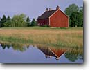 Stock photo. Caption: Morning reflections   near Newport State Park Door County Wisconsin -- america tourist travel destination destinations landscape landscapes scenic scenics byway byways backroads backroad sunny clear blue skies summer barn barns farms summer rural reflection perfect farms ranching ranch farming occupations pond ponds